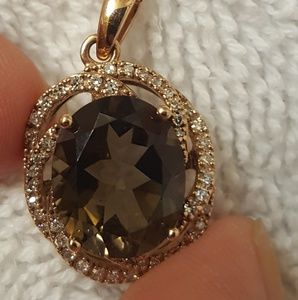 Jewelry - 14k diamond smoky quartz necklace